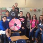 "Members of the PR class with the ""Pink"" Prize Wheel.  Photo by: Mrs. Chaltraw"